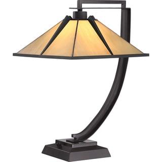 Pomeroy 1-light Western Bronze Tiffany-style Glass Table Lamp