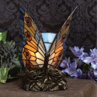 Quoizel Tiffany-style 1-light Orange Butterfly Architectural Bronze Accent Lamp