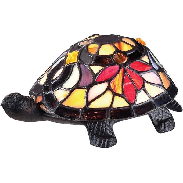 Tiffany-style Flower Turtle Single-light Accent Figurine Lamp