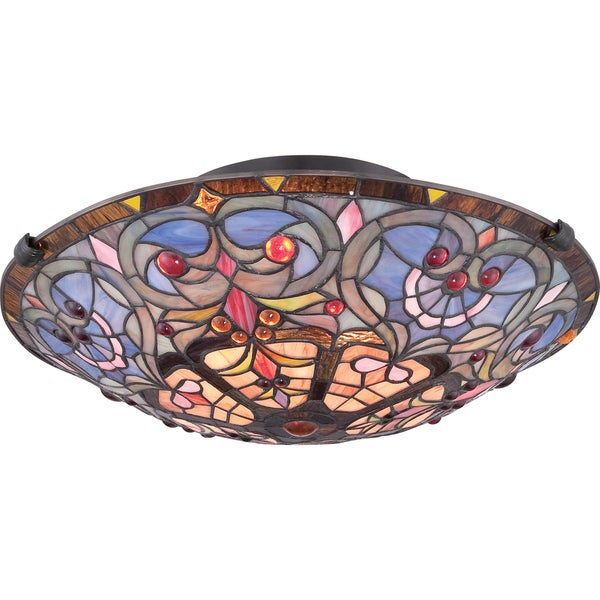 Copper Grove Cains Tiffany-style Carroll 2-light Vintage Bronze Large Floating Flush Mount