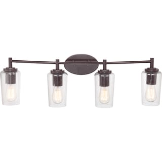 Edison Western Bronze 4-light Bath Fixture with Seedy Glass