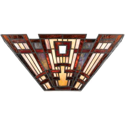 Quoizel Craftsman Art Glass 2-light Pocket Wall Sconce