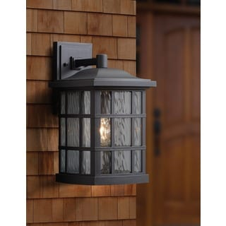 Quoizel Coastal Armour Stonington 1-light Mystic Black Large Wall Lantern with GU24 Base and CFL Bulb