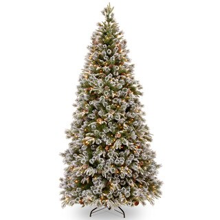 7.5 'Feel-Real' Liberty Pine Medium Hinged Tree with Snow/ Pine Cones/ 500 Clear Lights