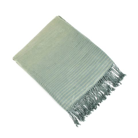 Striped Woven Rayon from Bamboo Throw Blanket