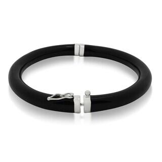 Gioelli Sterling Silver Black Enamel Bangle Bracelet