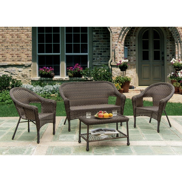 W Unlimited Brown Wicker 4 Piece Outdoor Furniture Set