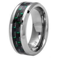 Oliveti Men's Black/ Green Plated Titanium Carbon Fiber Comfort Fit Band (8 mm)