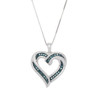 Sterling Silver 1/4ct TDW Genuine Blue Diamond Heart Pendant Necklace