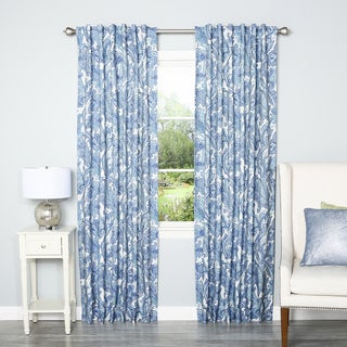 Aurora Home Blue Digital Paisley Rod Pocket 84-inch Curtain Panel Pair