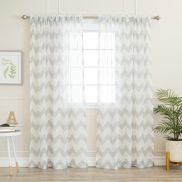 Shop Aurora Home Sheer Chevron Rod Pocket 84-inch Curtain Panel Pair ...