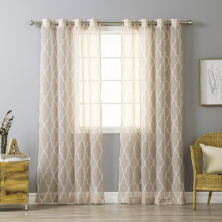 Aurora Home Sheer Moroccan Grommet Top 84-inch Curtain Panel Pair - 54 x 84