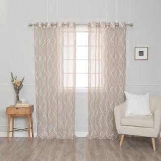 Aurora Home Sheer Moroccan Grommet Top 84-inch Curtain Panel Pair - 54 x 84