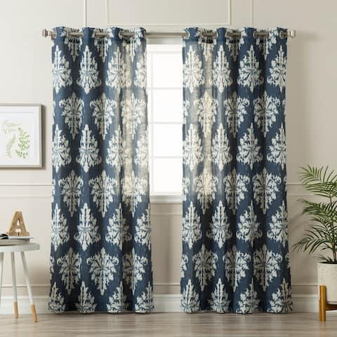 "Aurora Home Ikat Linen Grommet Top 84-inch Curtain Panel Pair - 52""W x 84""L"