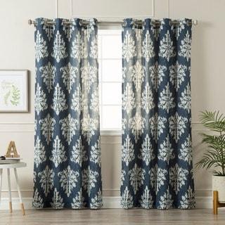 Aurora Home Ikat Linen Grommet Top 84-inch Curtain Panel Pair