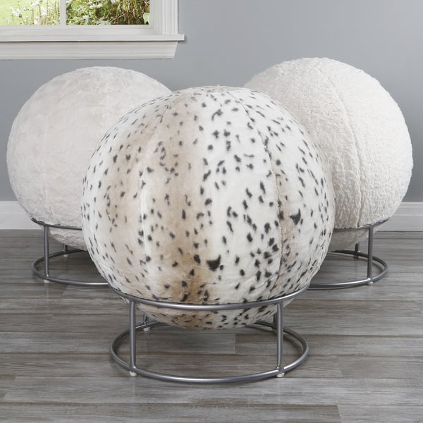Shop Aurora Home Faux Fur 65cm Yoga Ball Chair Free