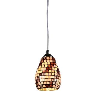 Chloe Mosaic Collection 1-light Sea Shell Glass/ Chrome Pendant - Multi-color