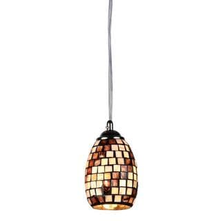 Chloe Mosaic Collection 1-light Sea Shell Glass/ Chrome Pendant