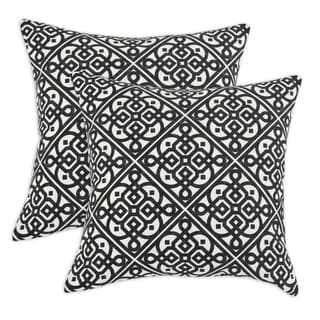 Lace it up Ebony 17-inch Fiber Throw Pillow (Set of 2)