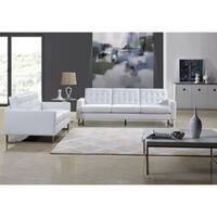 Angela White Leather Modern Sofa and Loveseat Set
