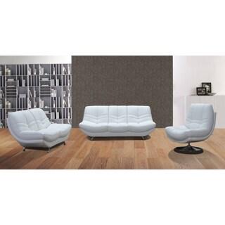 Snowy 3-piece White Faux Leather Sofa Set