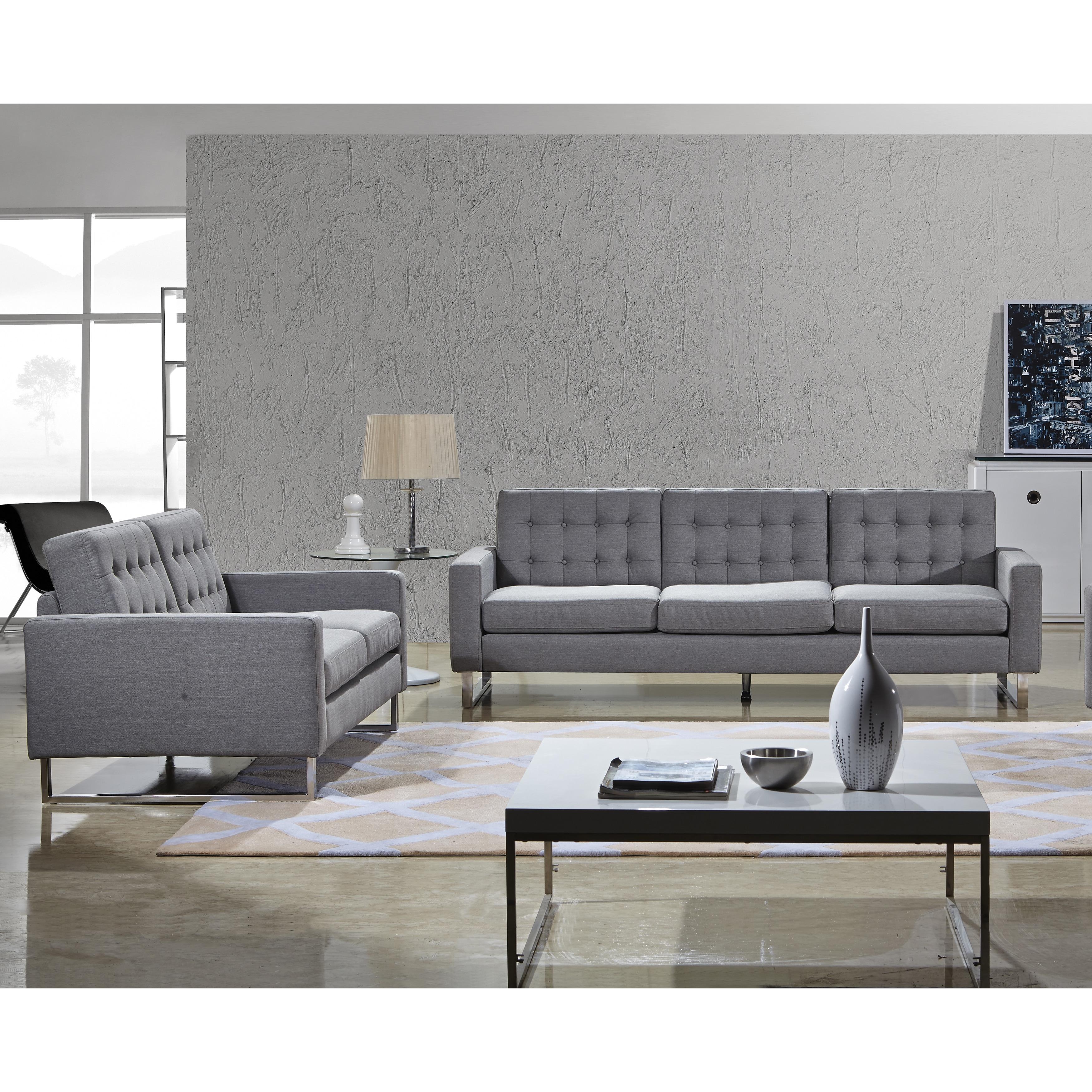 Angela Grey Fabric Modern Sofa And