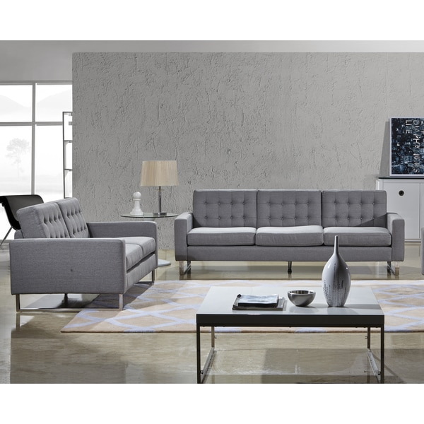 Angela Grey Fabric Modern Sofa And Loveseat Set Free Shipping Today 16609413