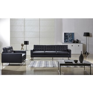 Angela Black Faux Leather Modern Sofa and Loveseat Set