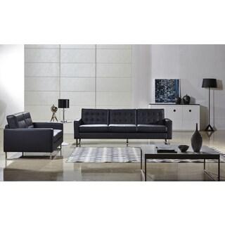 Angela Black Faux Leather Modern Sofa and Loveseat Set