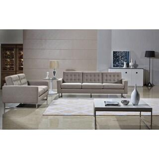 Angela Cappuccino Fabric Modern Sofa and Loveseat Set