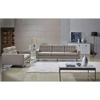Angela Cappuccino Fabric Modern Sofa and Loveseat Set