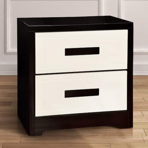 Furniture of America Feas Contemporary Black Solid Wood Nightstand