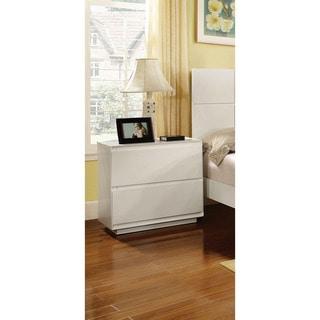 Furniture of America Cheshire Modern White 2-Drawer Nightstand