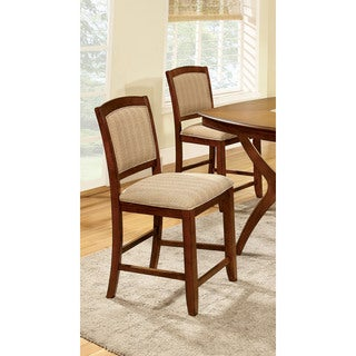 Furniture of America Jalayan Modern Oak Counter Height Chairs (Set of 2)