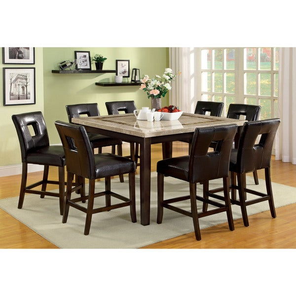 Furniture Of America Charisole 9 Piece Genuine Marble