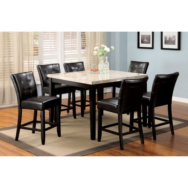 Furniture Of America Perican 7 Piece Genuine Marble Counter Height Dining  Set
