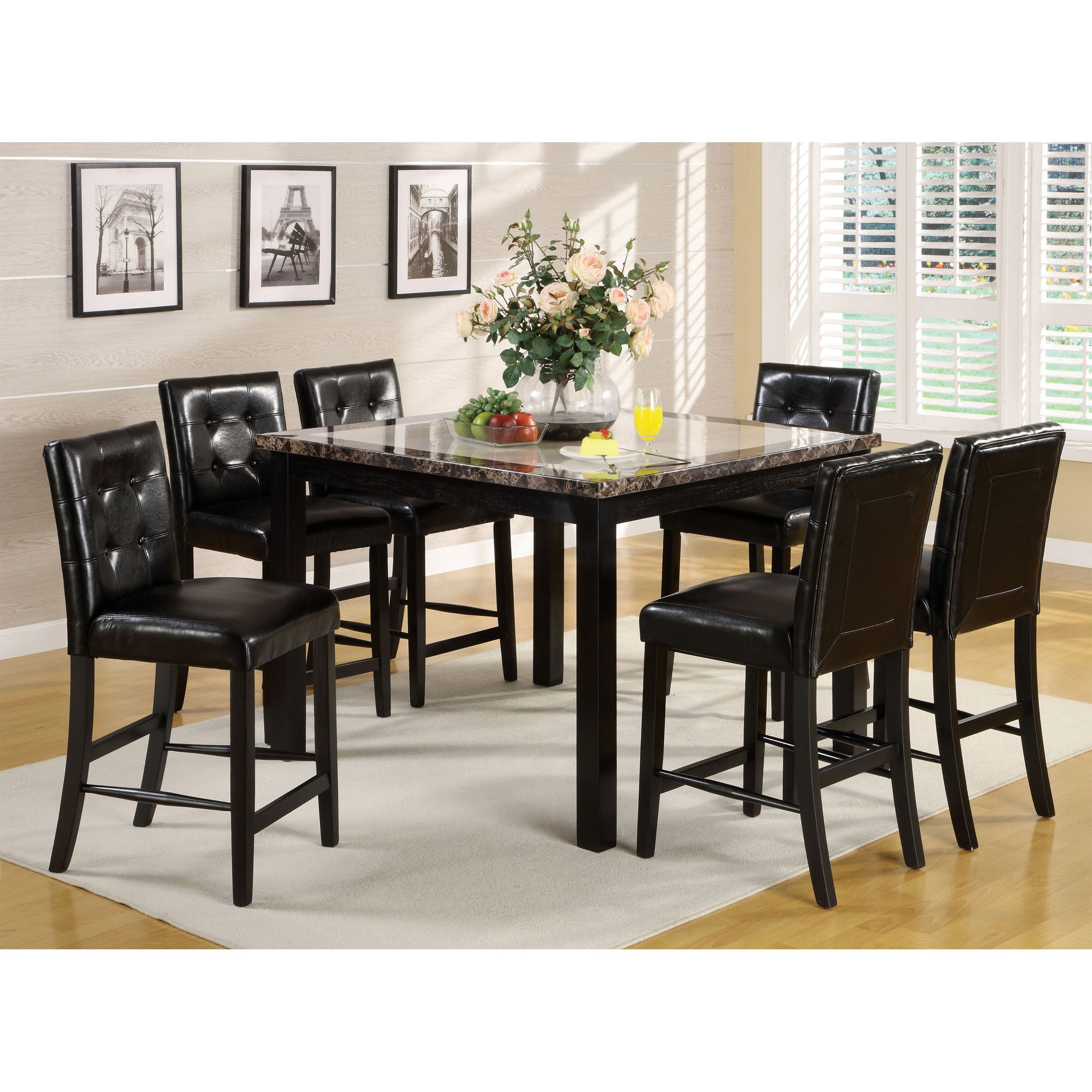 Furniture Of America Berthelli Black 7 Piece Counter Height Dining Set Overstock 9422603
