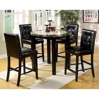 Furniture Of America Berthelli Black 5 Piece Round Pub Set