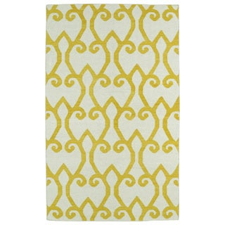 Hollywood Yellow Scroll Flatweave Rug (2'0 x 3'0)