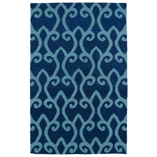 Hollywood Navy Scroll Flatweave Rug (2'0 x 3'0)