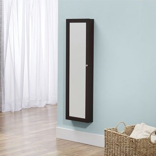 InnerSpace Over-the-Door Wall-hanging Mirrored Espresso Jewelry Armoire