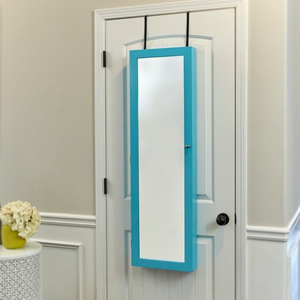 innerspace turquoise overthedoor wallhang mirrored jewelry armoire