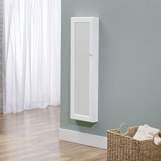InnerSpace White Over-the-Door / Wall-Hang Mirrored Jewelry Armoire