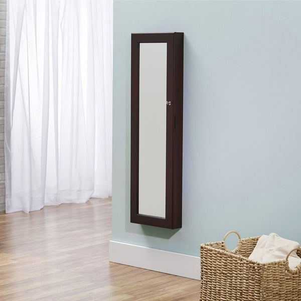 InnerSpace Over-the-Door Wall-hanging Espresso Mirrored Jewelry Armoire
