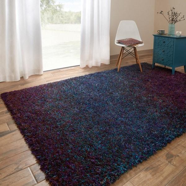 Oliver & James Opie Blue Shag Area Rug (5'2 x 7'7)