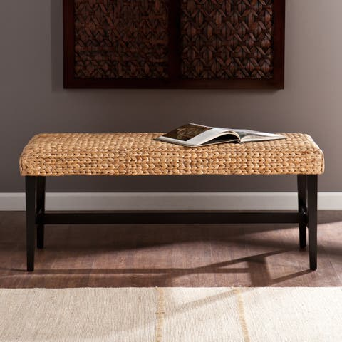 The Curated Nomad Terraza Cambria Black/ Natural Water Hyacinth Bench