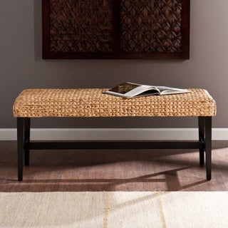 Harper Blvd Cambria Black/ Natural Water Hyacinth Bench