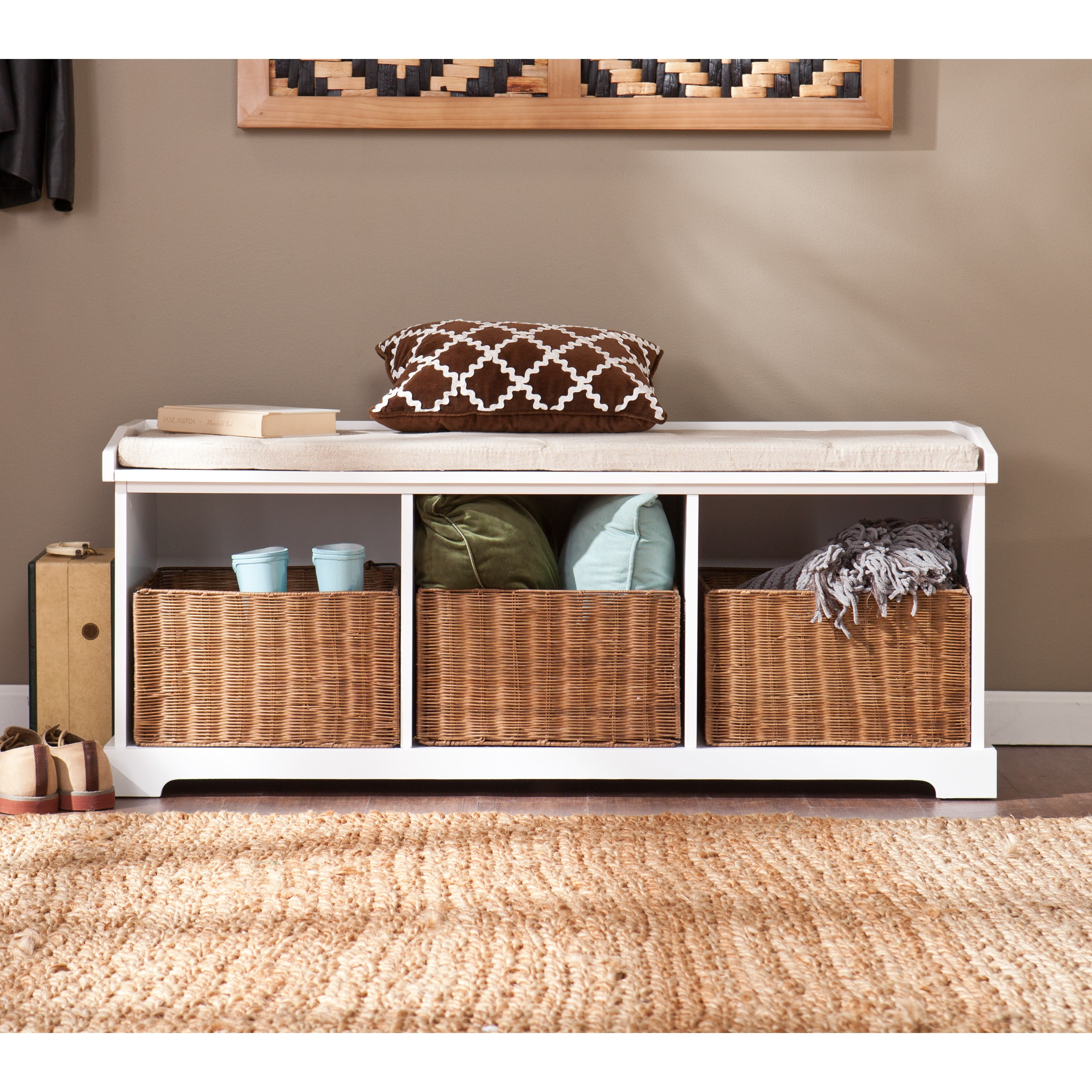 entryway benches with storage organizing | Shop Harper Blvd Lima White Entryway Storage Bench - Free ...
