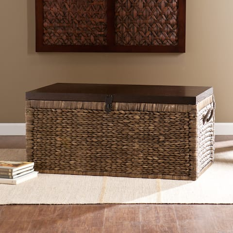 Harper Blvd Keene Blackwashed w/ Espresso Water Hyacinth Storage Trunk