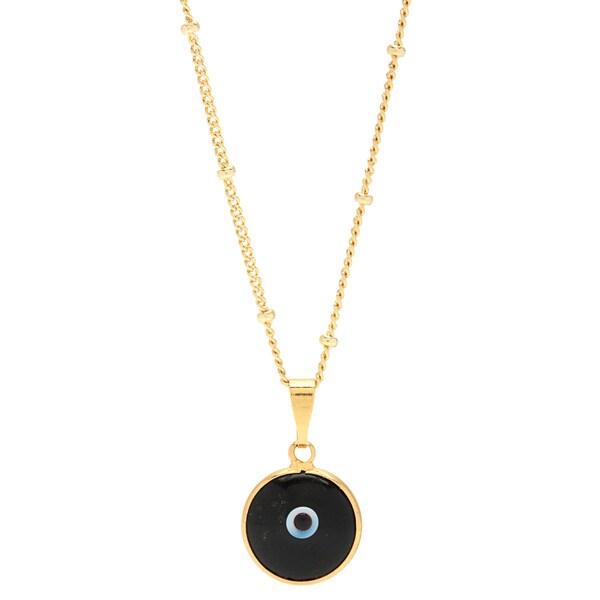 Mint Jules Black Enamel Evil Eye Pendant Gold-filled Chain Necklace